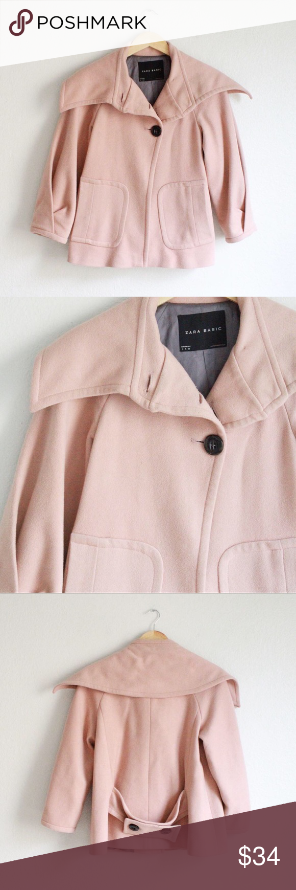 56c4f1954 Zara Basics light pink wool jacket! Awesome Zara Basics light pink ...