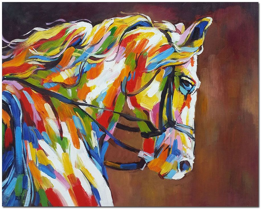 hand painted horse painting on canvas impressionist