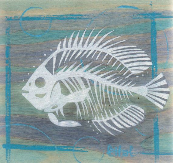 impression paintings of skeleton fish | ... Freshwater Fish Skeleton Silhouette Acrylic Painting on Poplar Wood