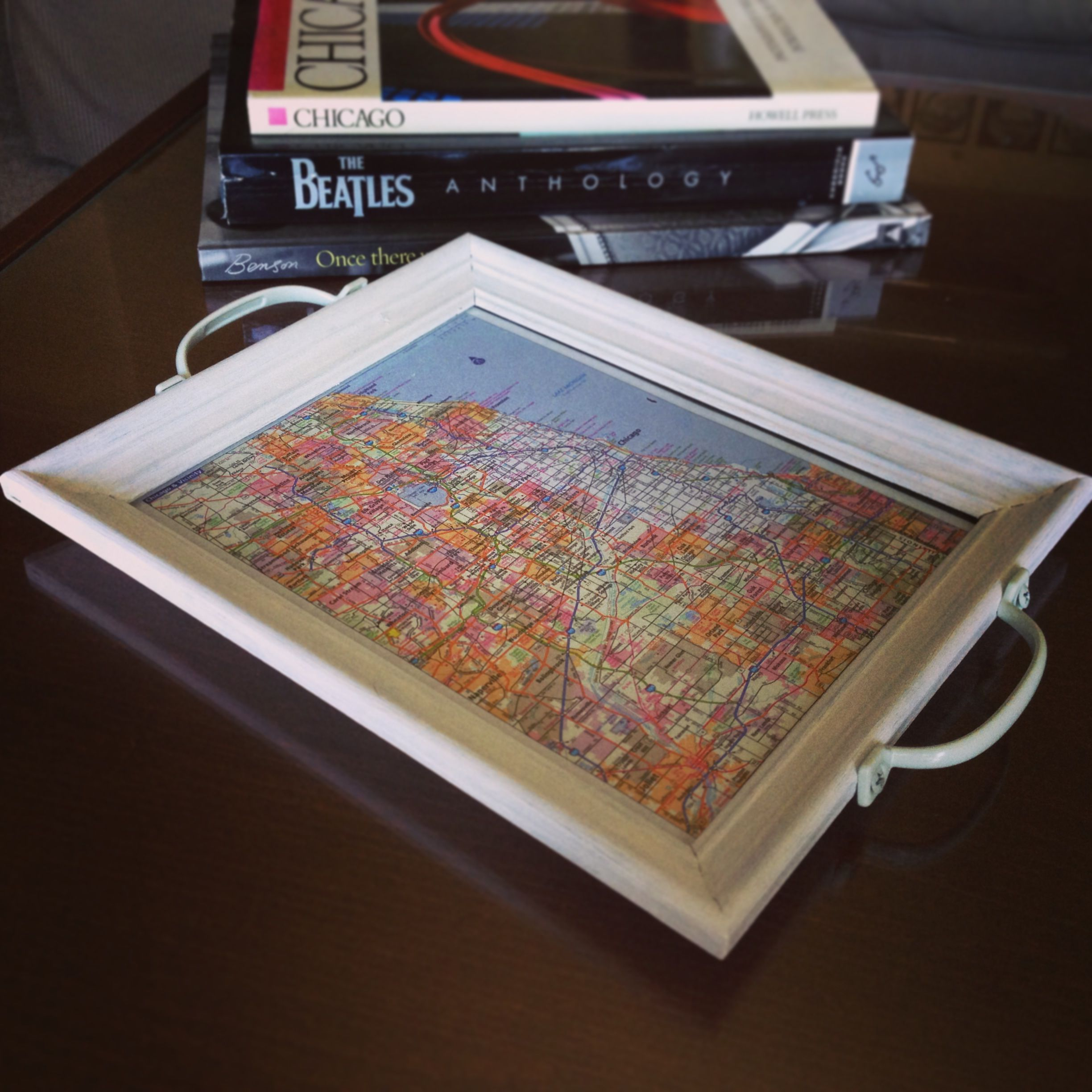 DIY Chicago map serving tray from a $1 Goodwill frame. Cleaned and ...