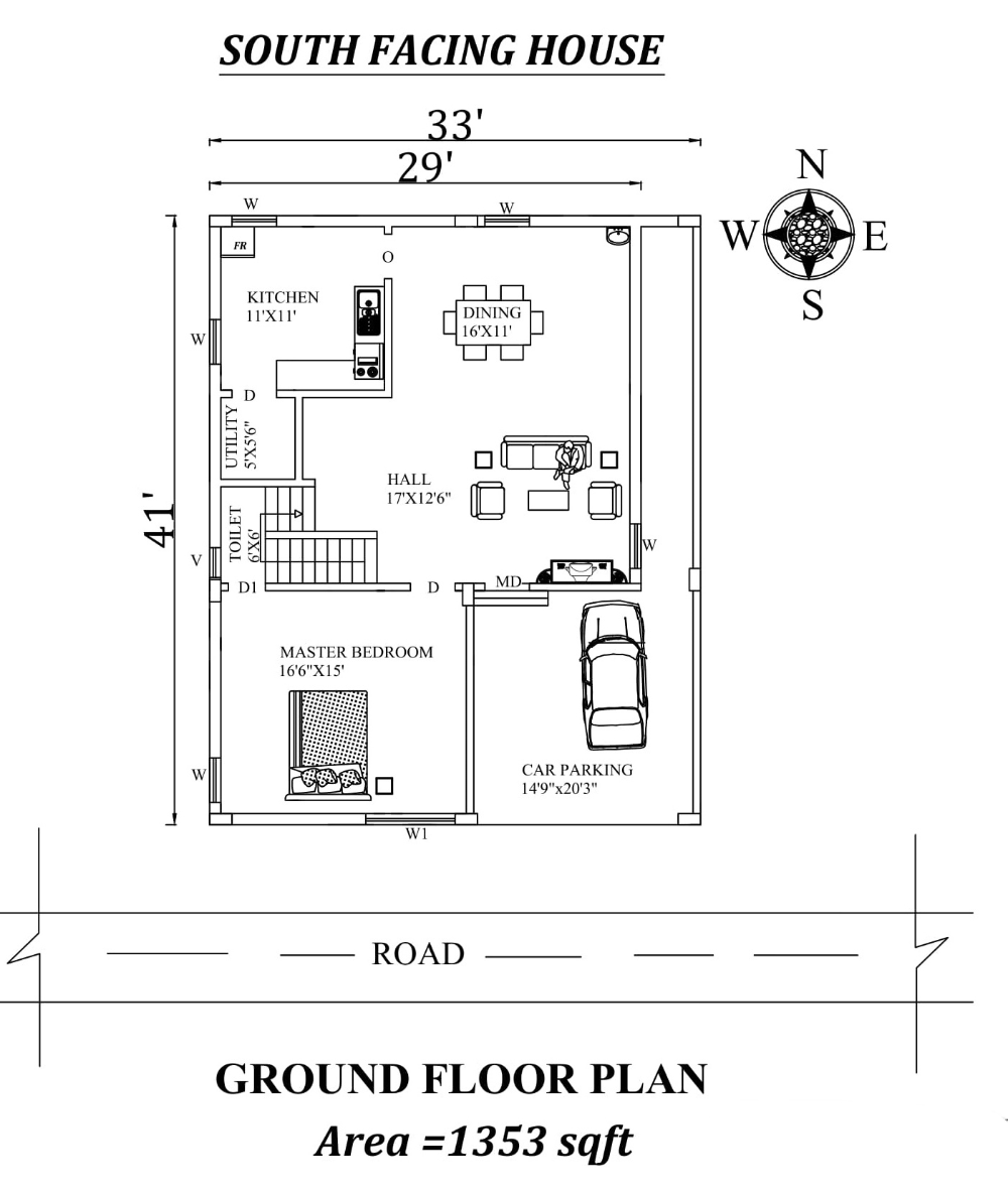 33 X41 Single Bhk South Facing House Plan As Per Vastu Shastra Autocad Dwg And Pdf File Details South Facing House House Plans Modern Exterior House Designs