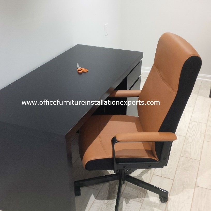 ikea office desk and chair assembled in Washington DC