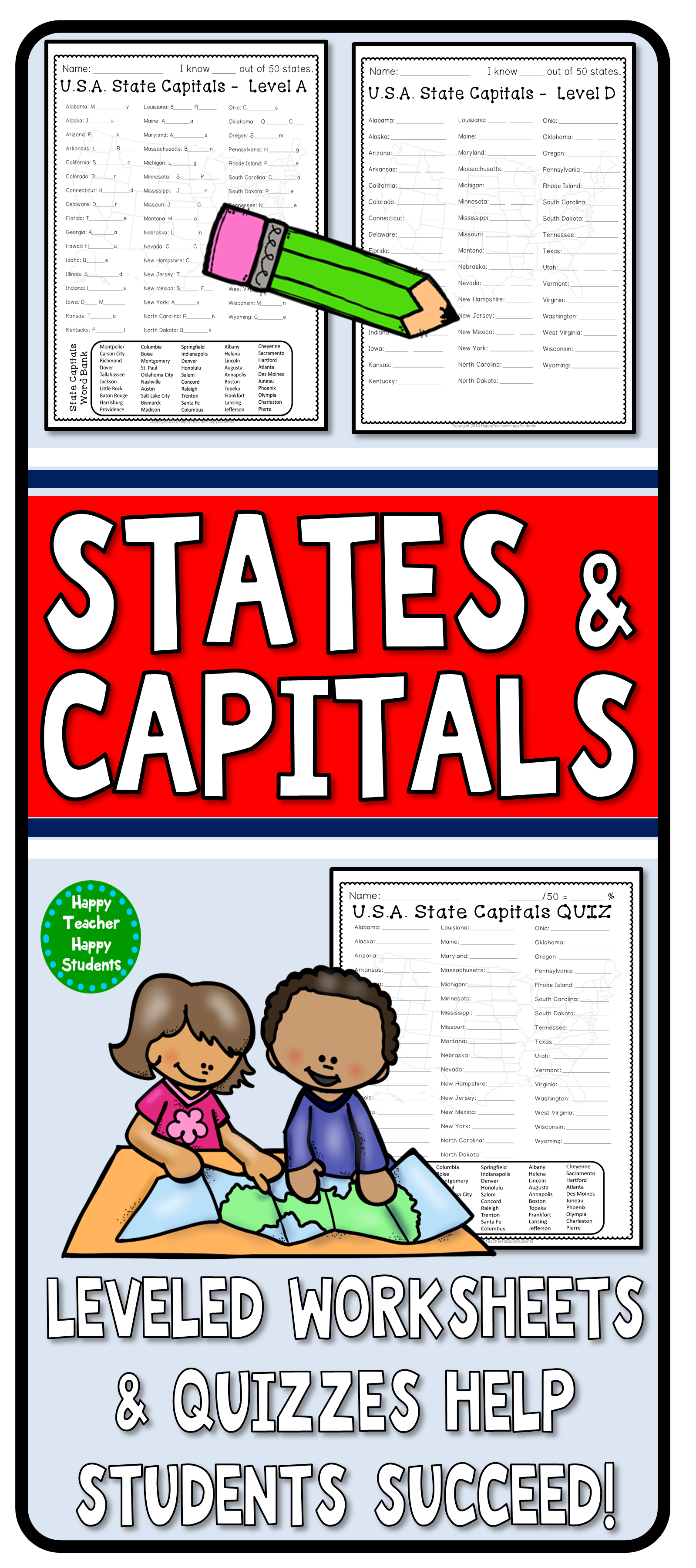 State Capitals 4 Worksheets Amp 2 Quiz Tests Usa States