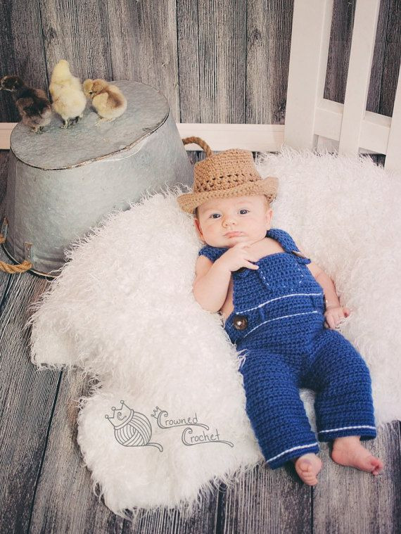 Crochet Little Farmer Baby and Toddler Overalls Pants and Straw ... f28d7b3cca5