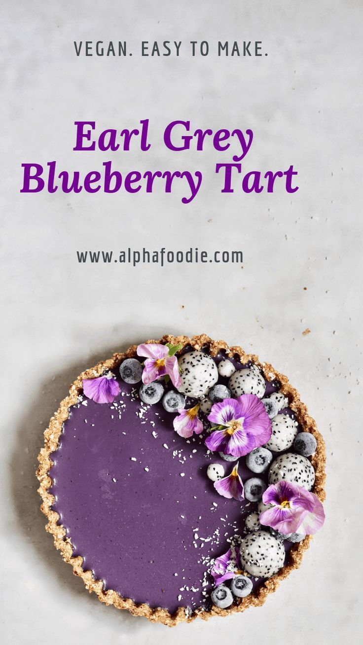 Photo of No Bake Vegan Earl Grey Blueberry Tart – Alphafoodie