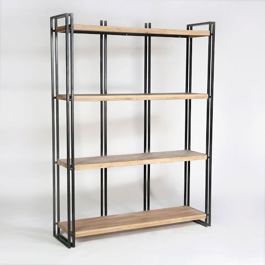 West Elm Double Frame Bookshelf Oak Iron 1299