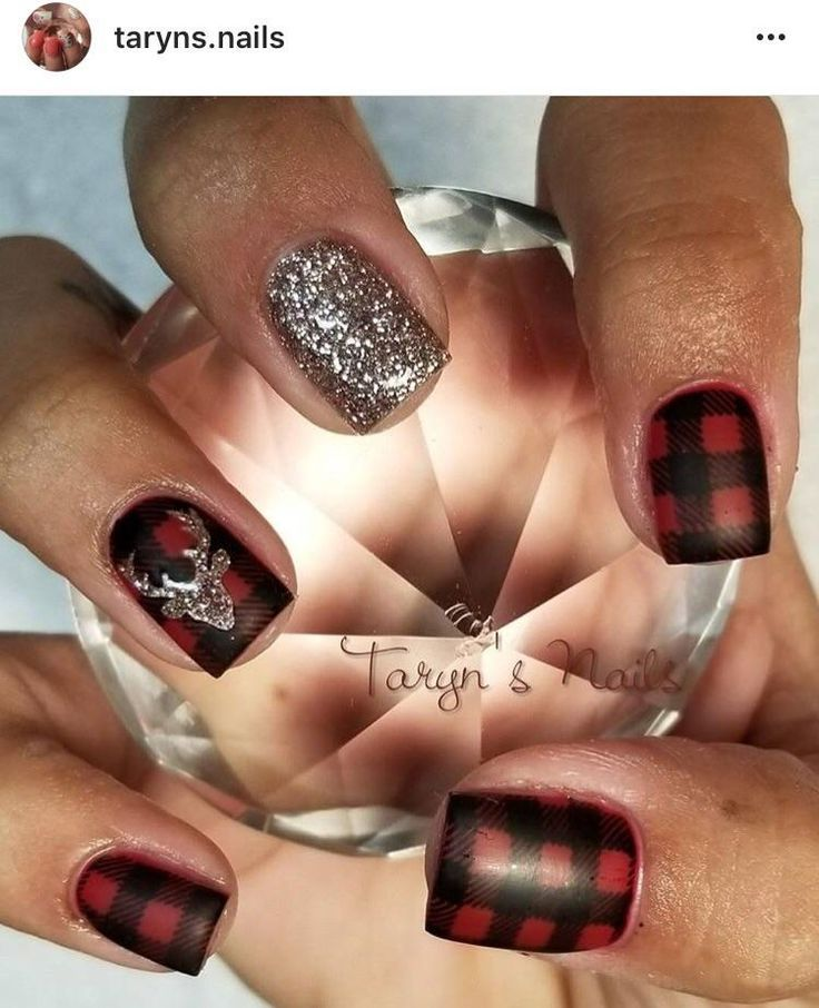 Nail Art Tutorial All I Want For Christmas Is Plaid: Deer Head Nail Decal