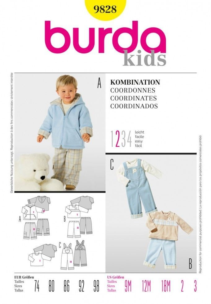 Free UK P&P - Burda Toddlers Easy Sewing Pattern 9828 Jacket, Pants ...