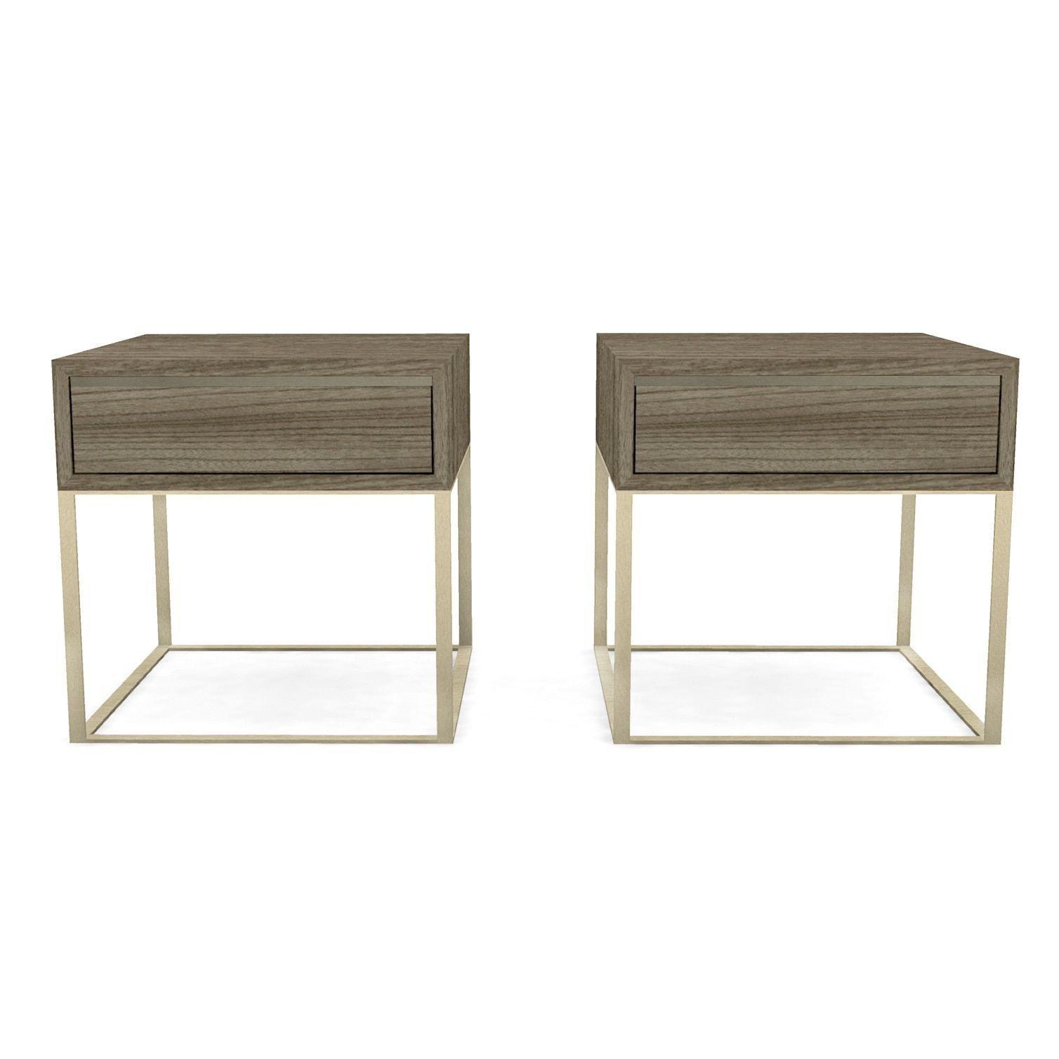Calvin Klein Remsen Storage Dark Walnut/Stainless Steel (Silver) End Table  (Remsen Good Looking