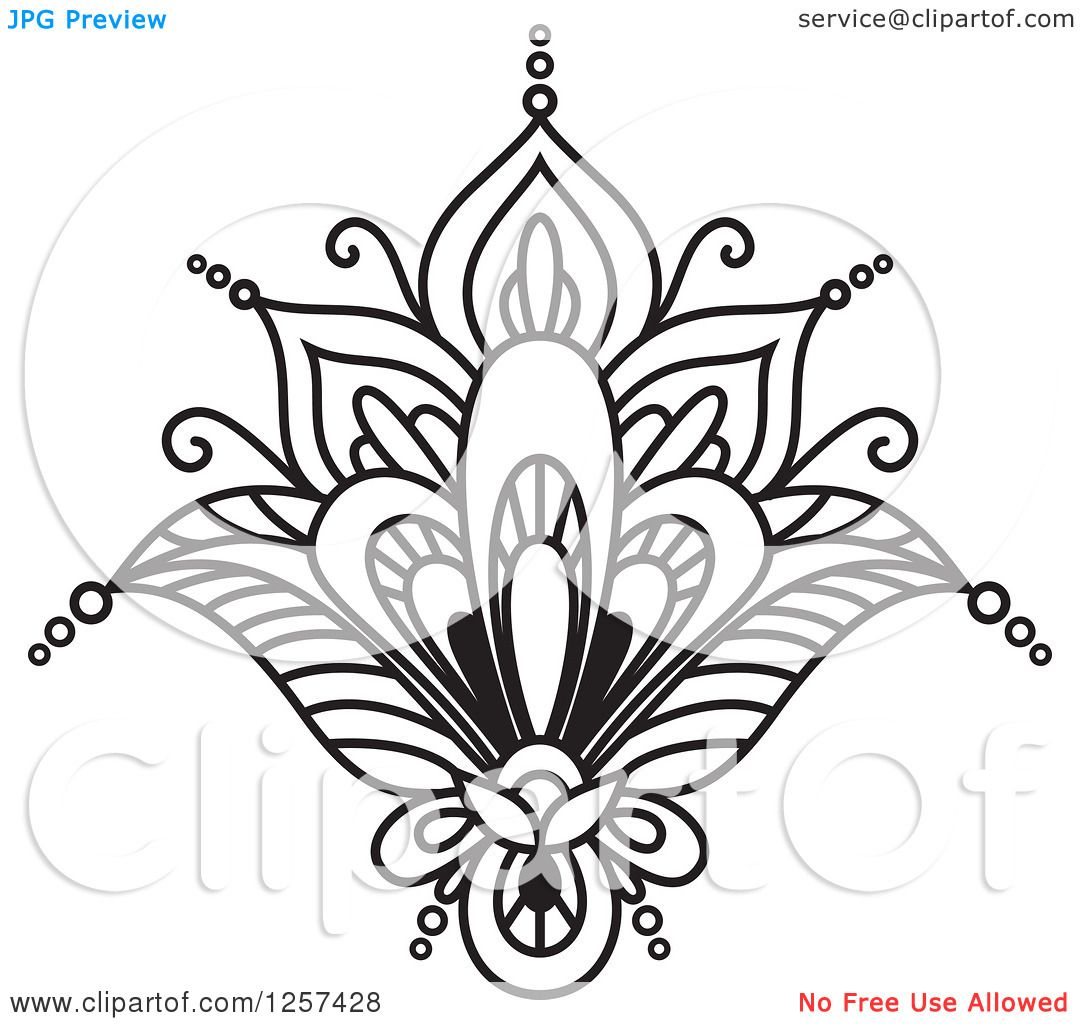 Clipart of a Black and White Henna Lotus Flower Royalty