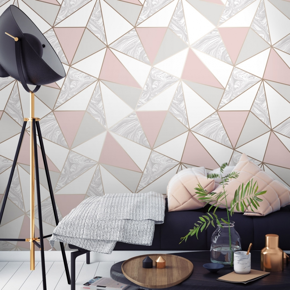 Fine Decor Fd41993 Uk Apex Geo Sidewall Wallpaper Rose Gold Amazon Com Rose Gold Wallpaper Geo Wallpaper Geometric Wallpaper Iphone