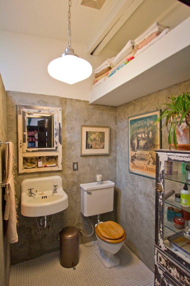 Wände in Putz-Look-Vintage Möbel und Ausstattung für Badezimmer - badezimmer vintage