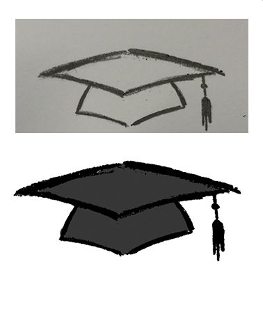 Graduation Cap Sketch - To differ the College and University