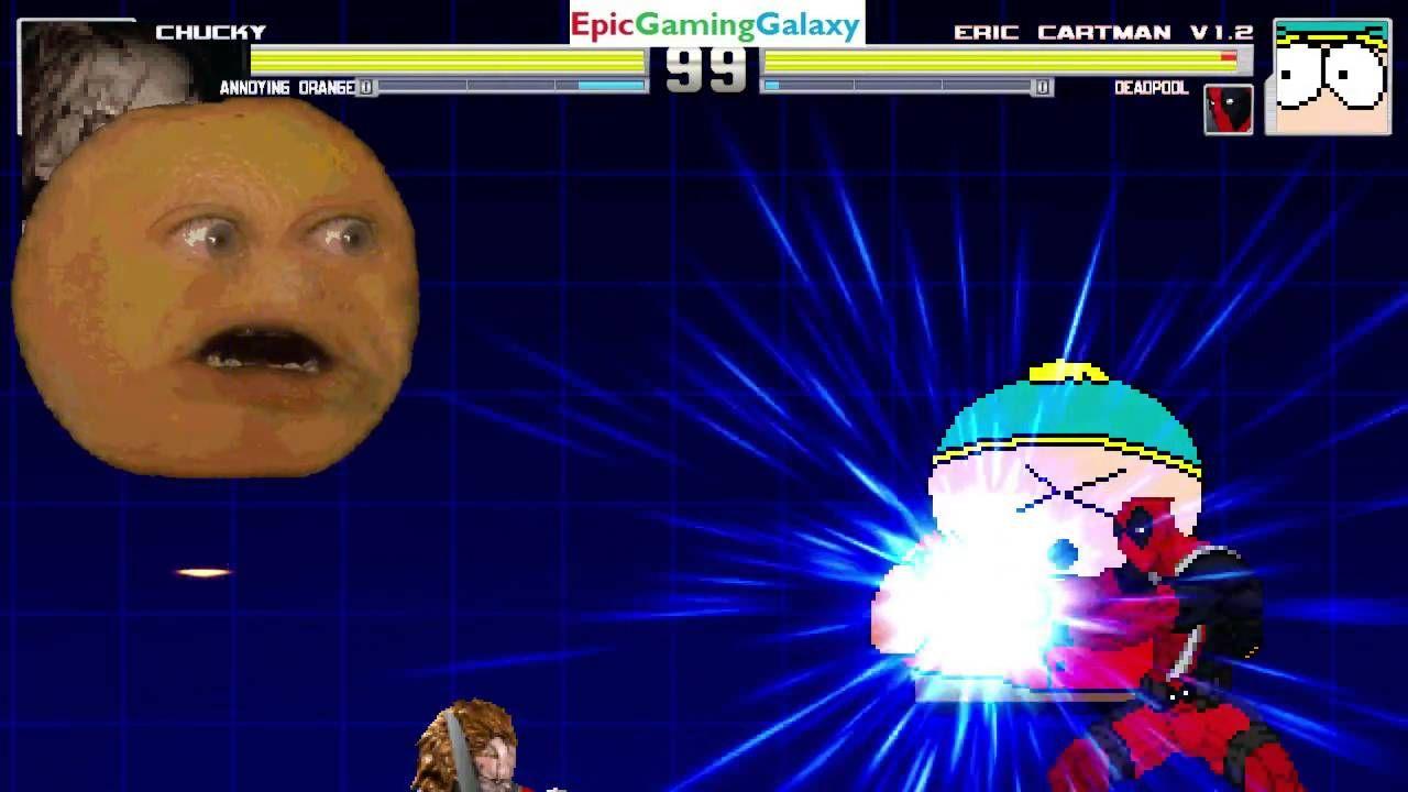Deadpool Eric Cartman VS Chucky The Killer Doll Annoying Orange In A MUGEN