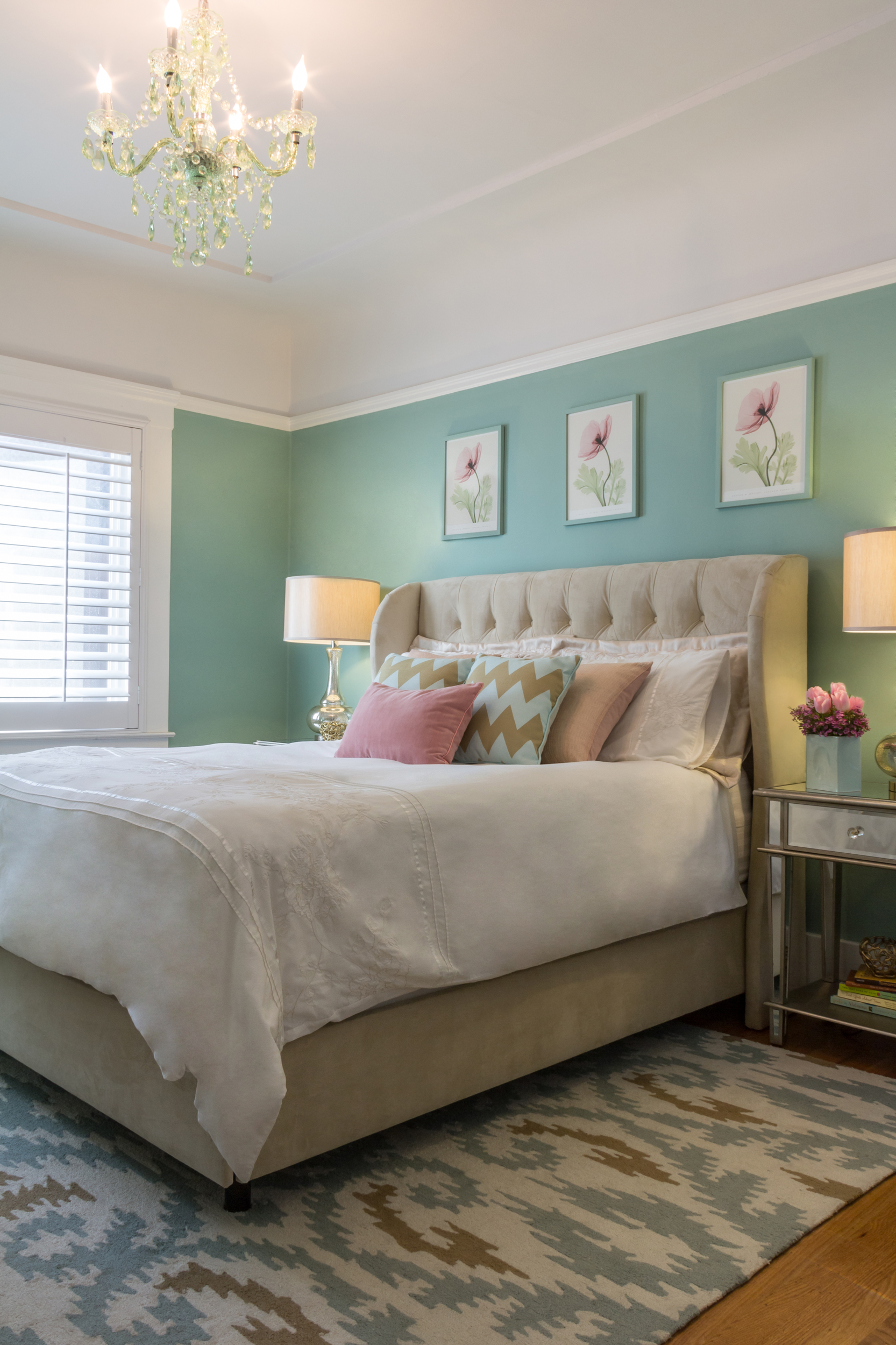 Lovely Feminine Bedroom With Various Shades Of Green And