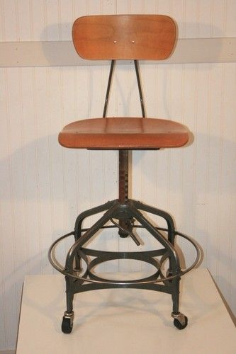 Vintage Toledo Uhl Drafting Chair On Wheels Work Stool Industrial