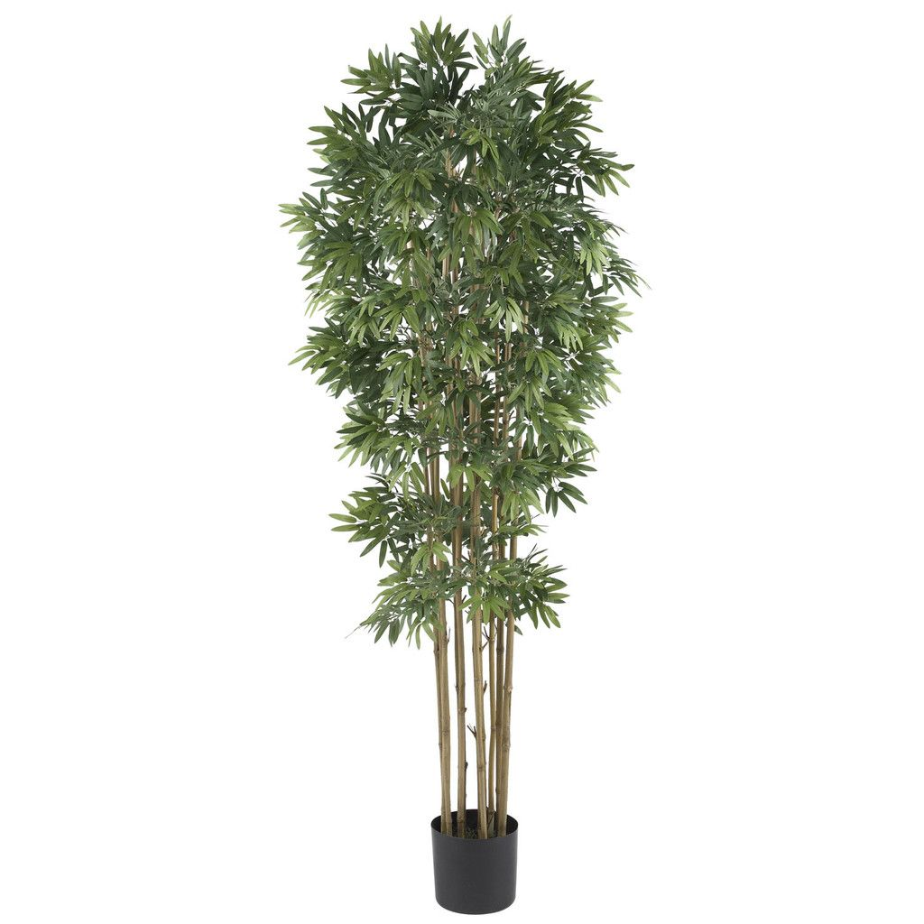 6 Bamboo Japanica Silk Tree Potted Trees Artificial