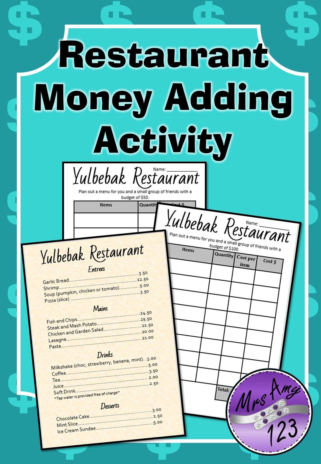 Restaurant Money Adding Activity | Activities, Dbt and Worksheets