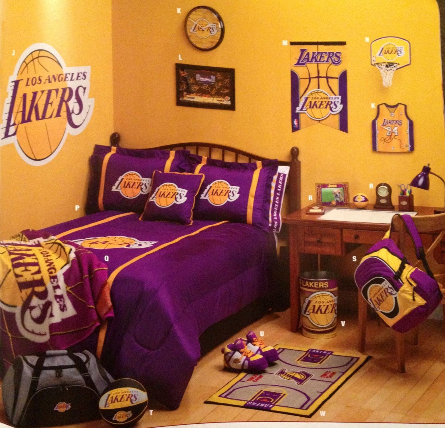 Another idea for a laker fans room my love sports - Bedroom furniture in los angeles ...