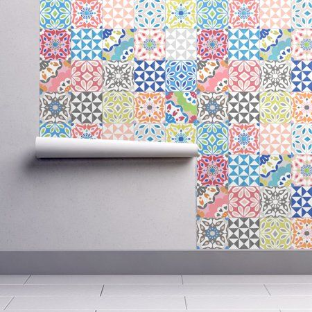 PeelandStick Removable Wallpaper Colorful Tile Abstract