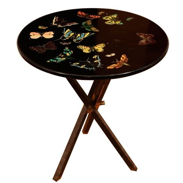 1950s Italian Fornasetti Table With Hand Transferred Butterfly Design On A  Lacquered Wood Top. The