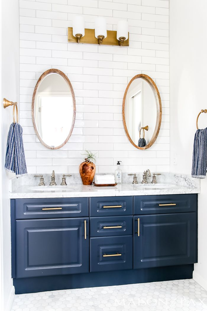 Navy And White Bathroom With Brass And Wood Accents Find Out