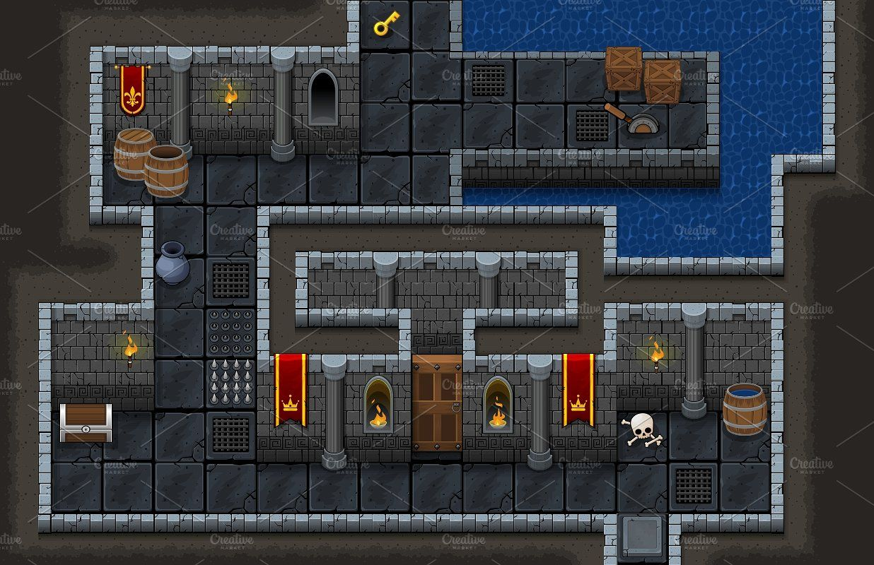 The Dungeon Top Down Tileset Dungeon, Fantasy rpg