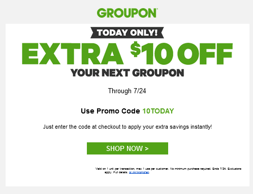 HOT #DEAL: $10 Off Groupon Coupon Code - No Minimum - TODAY