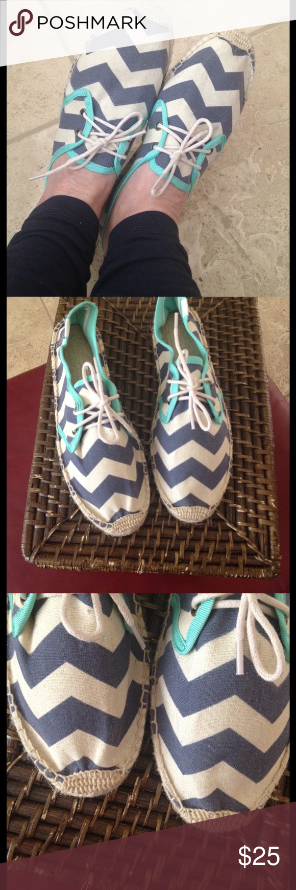 SOLUDOS CANVAS LACE-UP ESPADRILLES CHEVRON SZ 40 Never worn, Chevron pattern navy/cream trimmed in teal. These size 40 comparable to US 9-9.5 Soludos Shoes Espadrilles