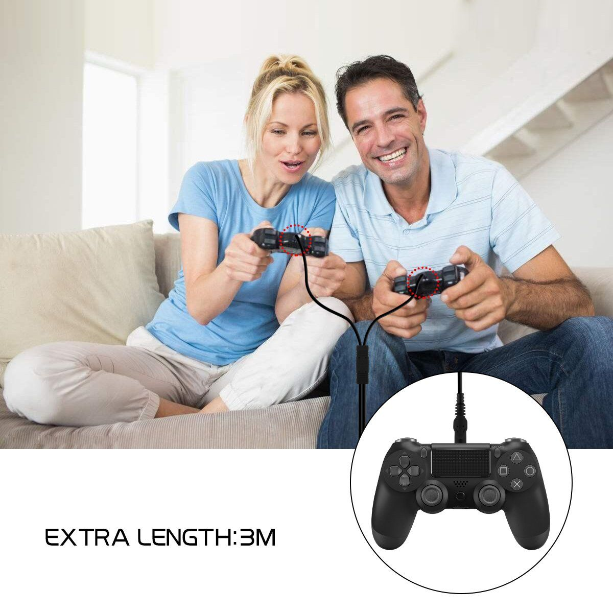 PS4 Controller Dual Charging Cable 10FT/3M , Hi-Speed Charge