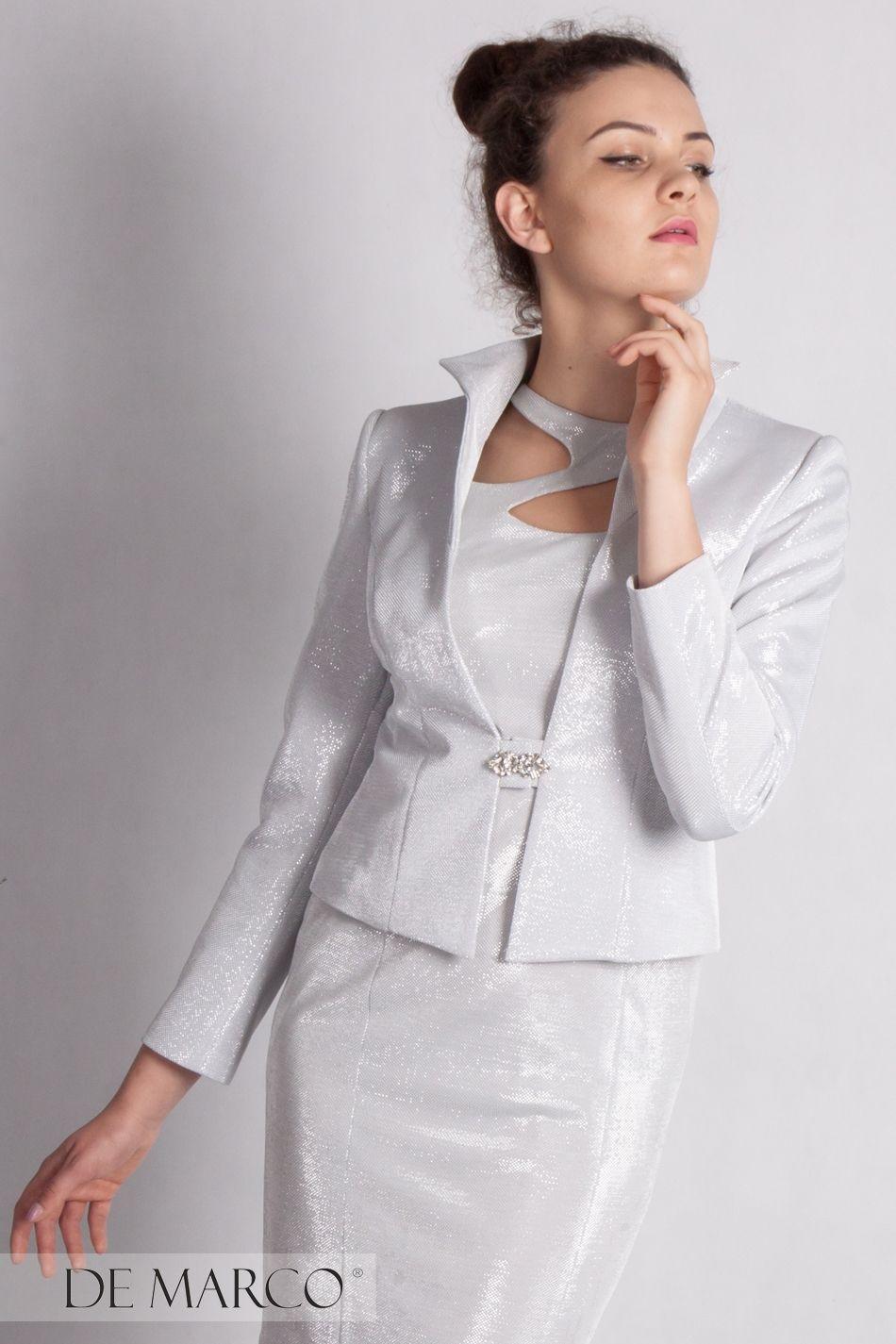1106558be8 Ekskluzywna srebrna stylizacja na wesele. Elegancka i charakterna  kompozycja żakietu z sukienką nie tylko dla