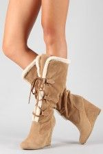 Bamboo Tida-04 Fur Lace Up Knee High Wedge Boot