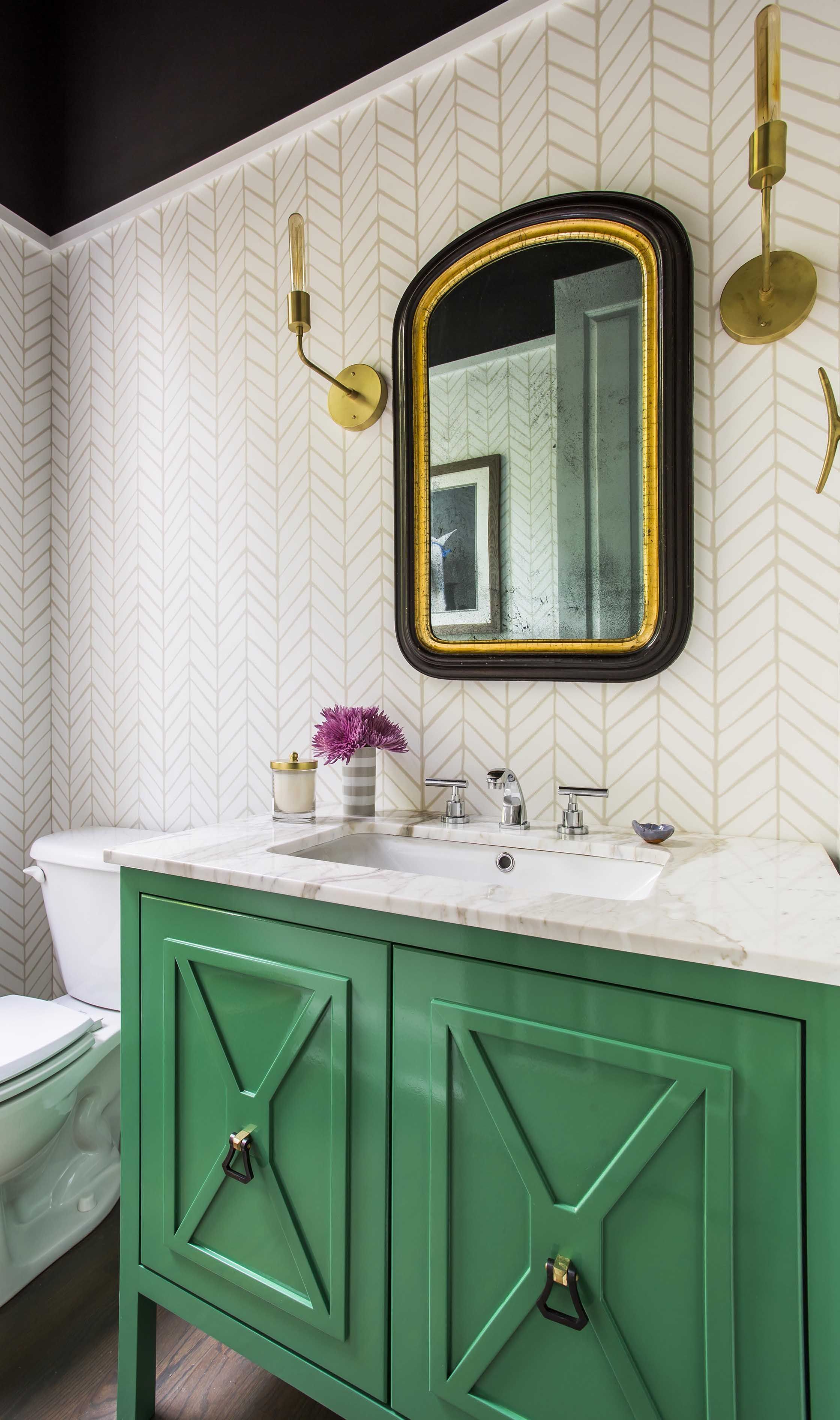 Gorgeous Transitional Bathroom Decor With Green Vanity And Gold