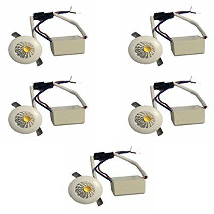 Galaxy 1 Watt Led Cob Spot Light Button Light Warm White Round Driver Included Pack Of 5 Led Spotlight Warm Light 1w Led