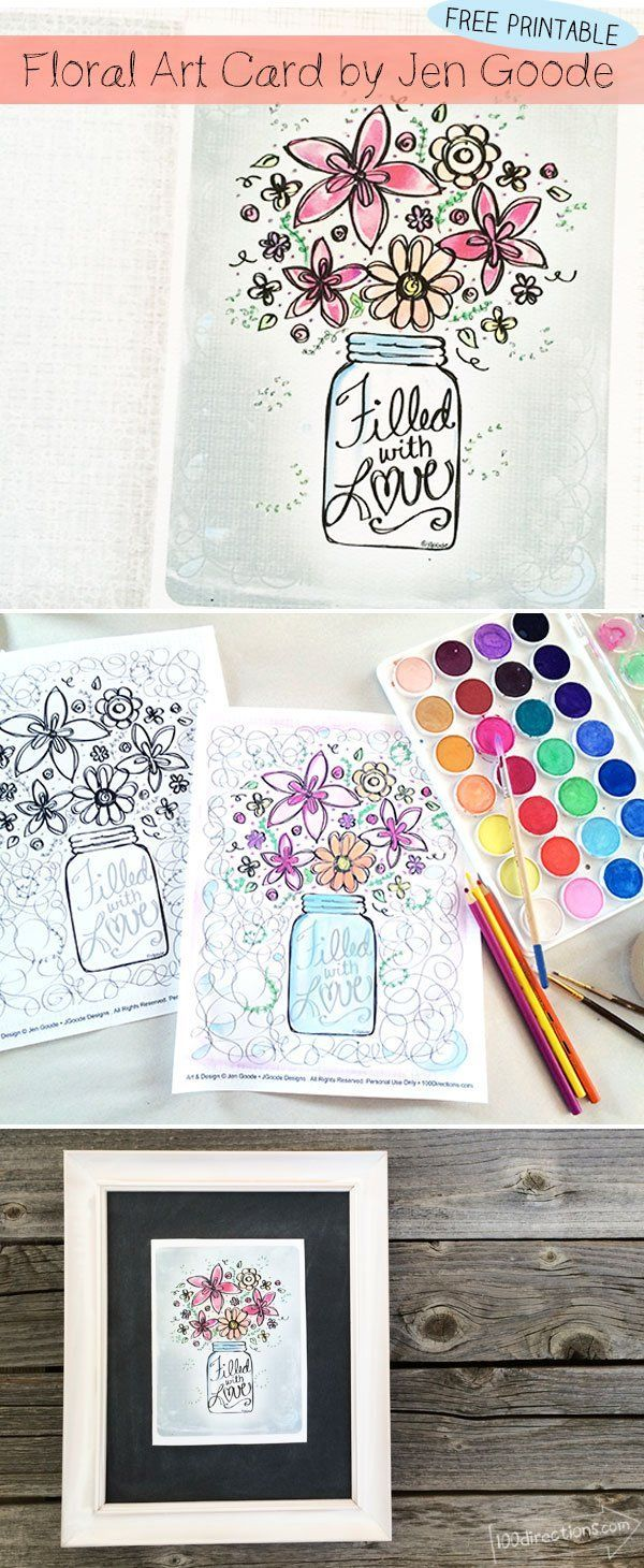 Floral Art Card Printable and Coloring Page | Pinterest | Caligrafía ...