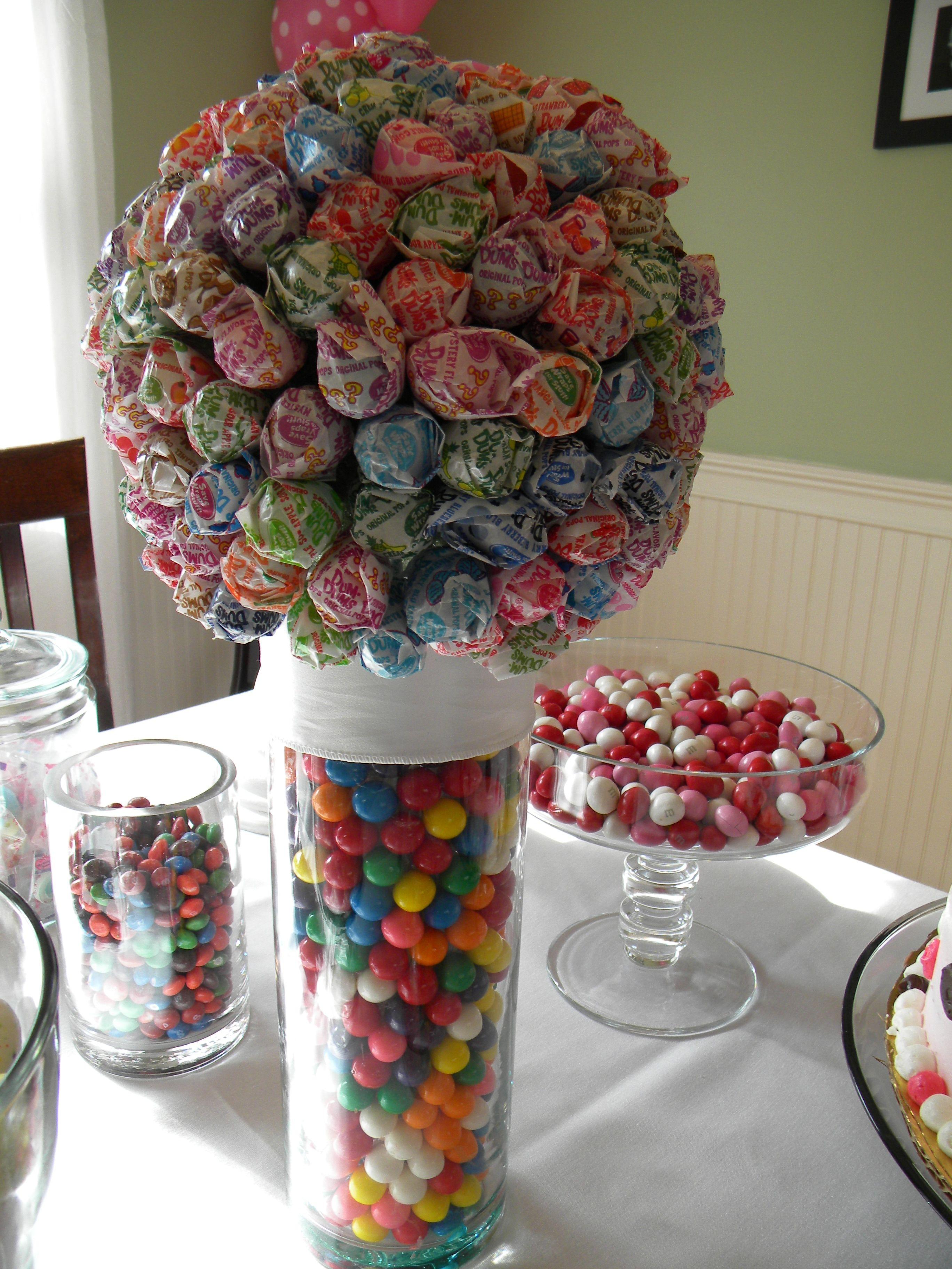 Lollipop Vase Centerpiece : Candy centerpiece with gumballs and lollipops birthday