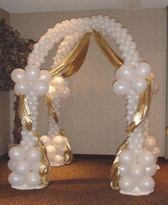 Branco E Dourado Com Imagens Colunas De Balao Decoracao Com