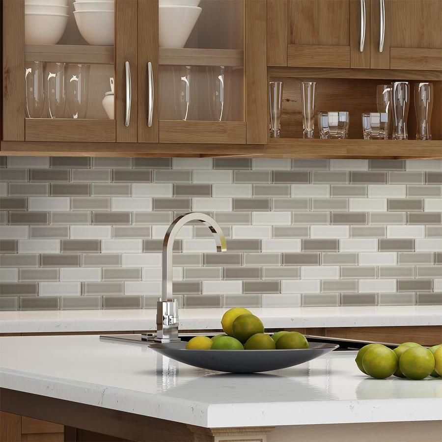 - Glass Subway Tile Taupe Blend 2 X 6 Contemporary Kitchen