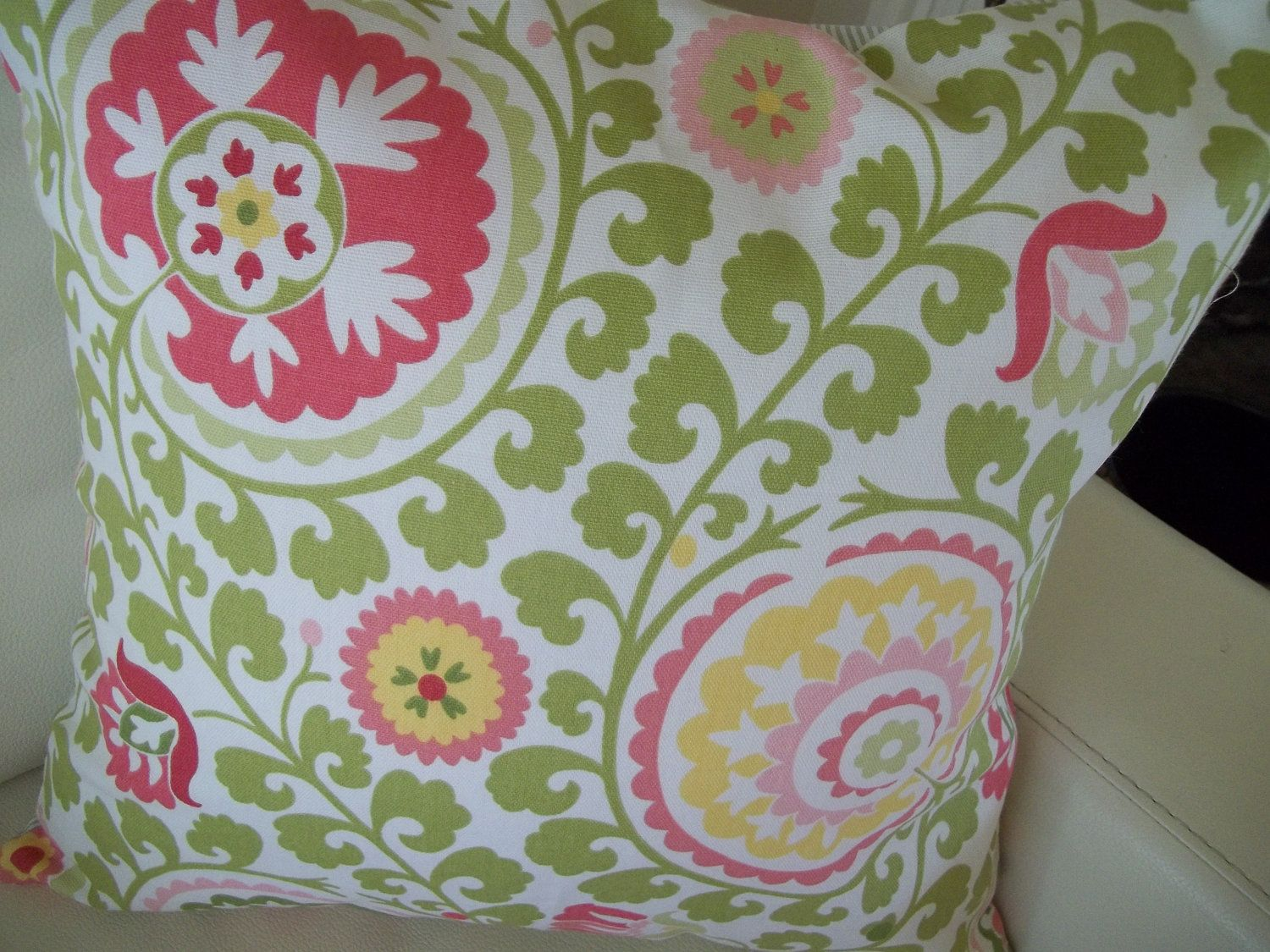 Throw pillow cover modern art nouveau floral pink and green x