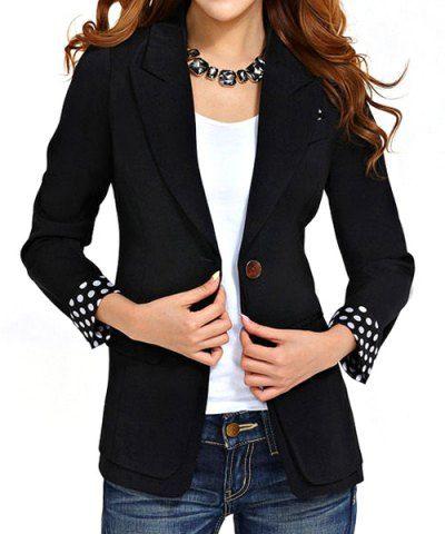 Chic Style Lapel Neck Long Sleeve Polka Dot One Button Slimming Women's Blazer