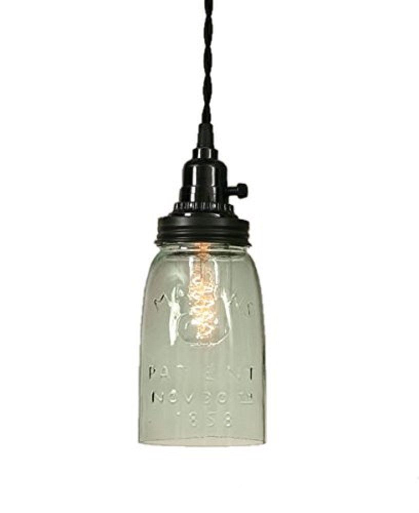 cut-off mason jar hanging light