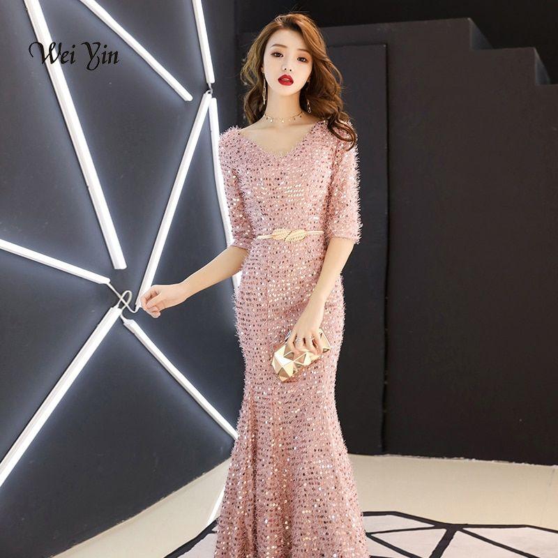 ff269261be350 weiyin New Luxury Evening Dresses V Neck Backless Abendkleider Pink ...