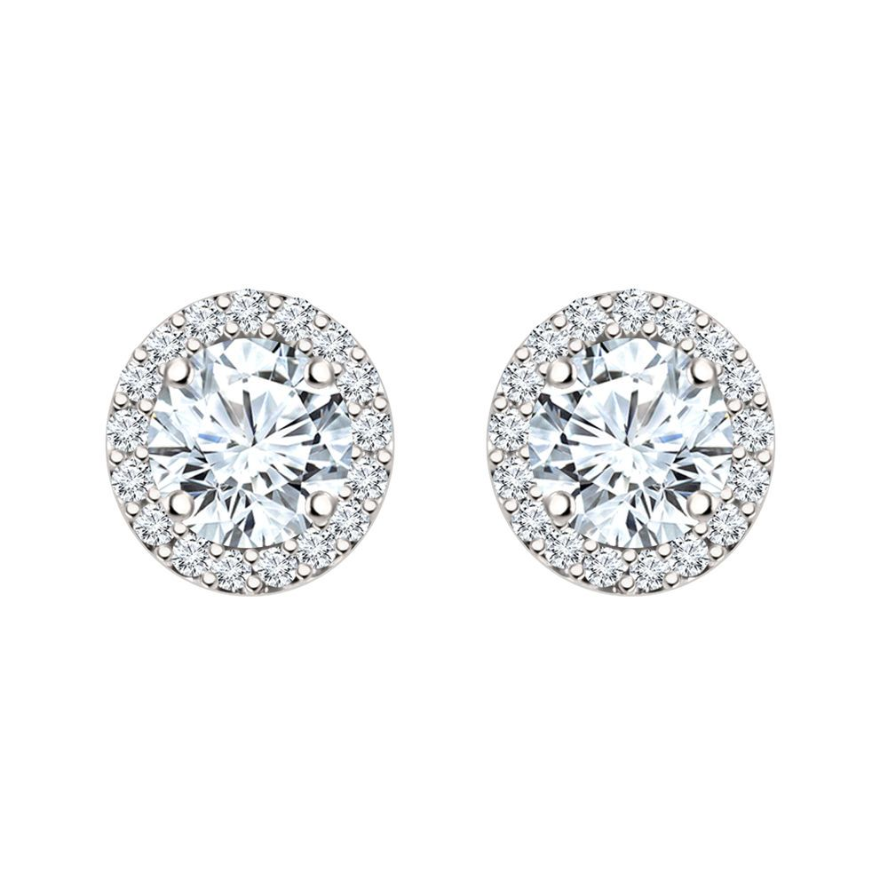 5mm Man Made Diamond Halo Stud Earrings In 14k White Gold Over Diamondetc Halostud Valentinesday