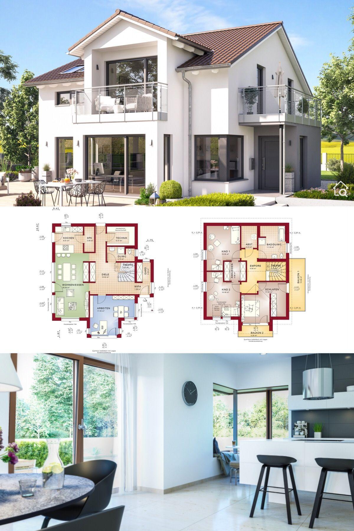 Modernes Haus Design mit Satteldach & 5 Zimmer Grundriss