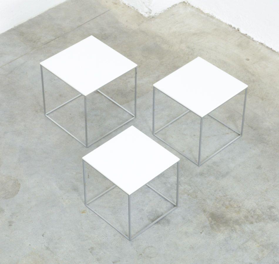 3 Vintage Bijzettafeltjes.Set Of 3 Nesting Tables Pk71 By Poul Kjaerholm For E Kold Christensen