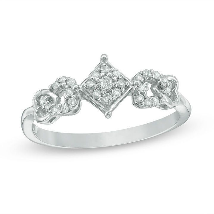 Zales 1/6 CT. T.w. Composite Diamond Tilted Square Heart Sides Promise Ring in Sterling Silver zDyWL8