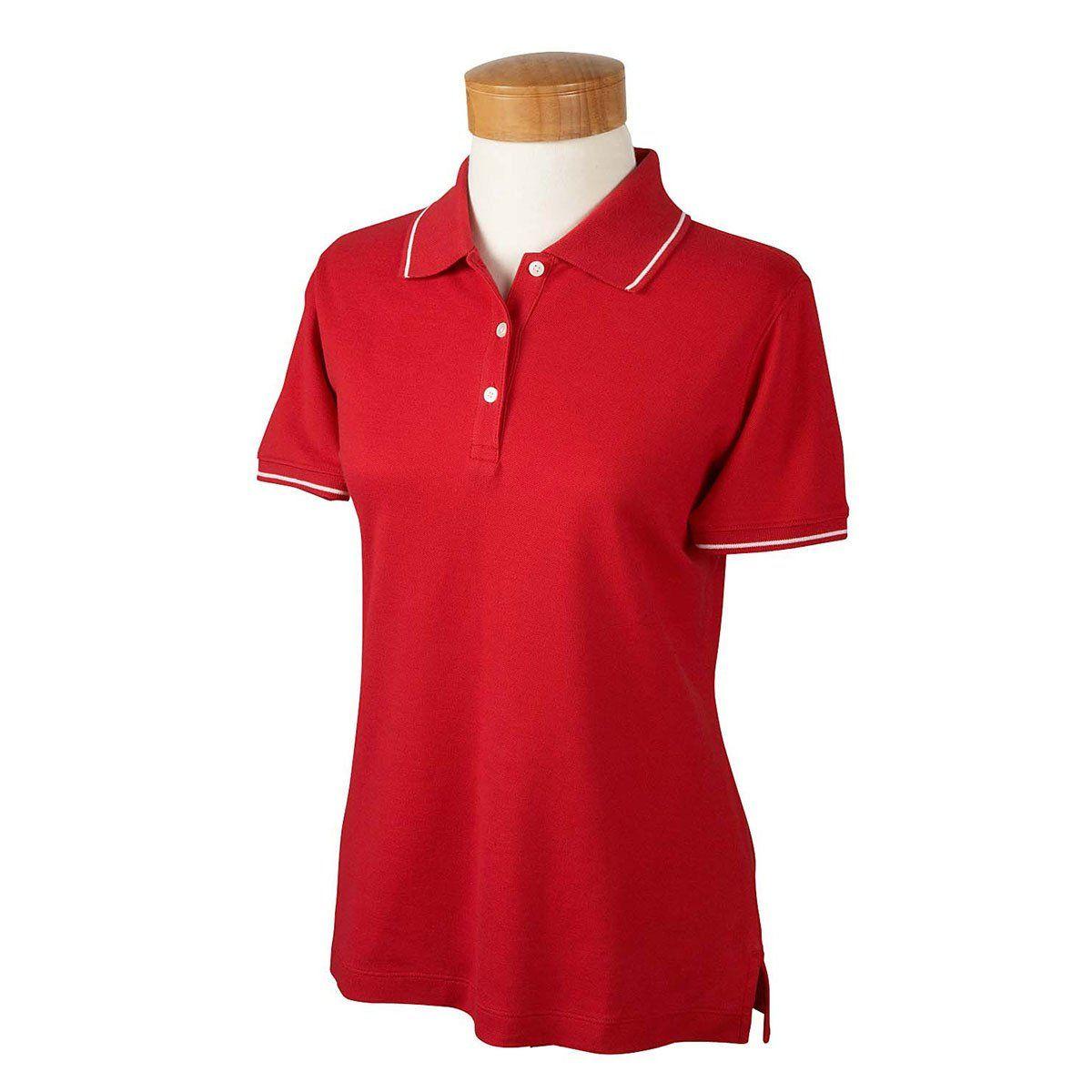 Devon Jones Women S Red White Pima Pique Short Sleeve Tipped