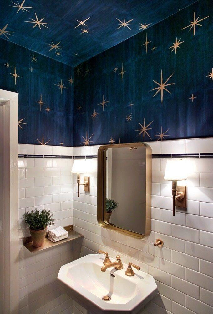 Starry Night Bathroom House Design Room Wallpaper House Interior