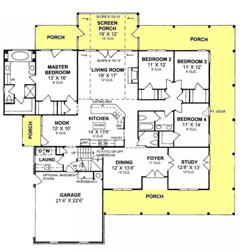 655863 4 Bedroom 2 5 Country Farmhouse With Screened Porch And All Walk In Closets House Farmhouse Floor Plans Country Style House Plans House Floor Plans