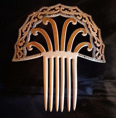 Vintage-Large-Spanish-Peinetta-Hair-Comb-Rhinestones-6-1-2-Wide